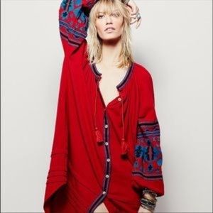 """Free People """"In The Clear"""" Embroidered Red Dress"""